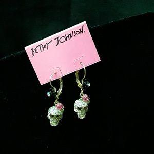 Betsey Johnson SKULL ROSE EARRINGS